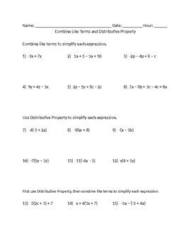 Combine Like Terms and Distributive Property Worksheet ...