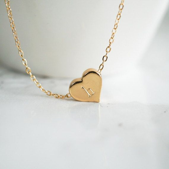 Personalized Gold Necklace Initial Heart Jewelry Anniversary Gift