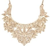 Fashion Punk Style Hollow-out Leaves Formed Gold Metal Necklace