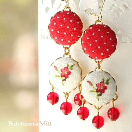 Fabric Button Jewelry, Floral Dangle Earrings, Red Polka Dots, Statement Czech Glass Beads, Red Flowers on White Eardrops via Patchwork Mill. Click on the image to see more!