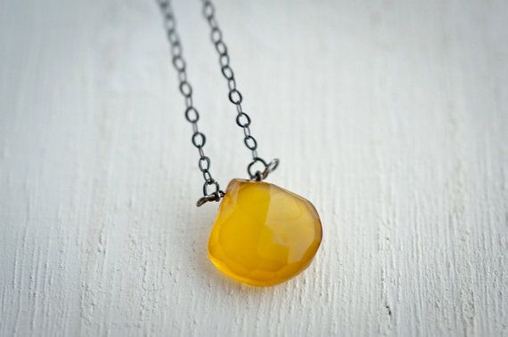 Large Yellow Chalcedony Necklace Briolettes Heart by LoveGemStudio
