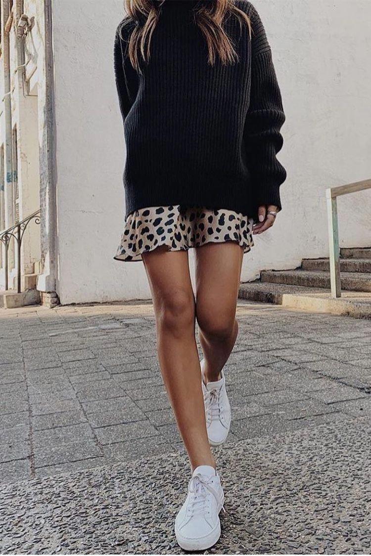 Photo of Leopard printkjol med stor svart tröja # chic # enkel #springstyle #spr …
