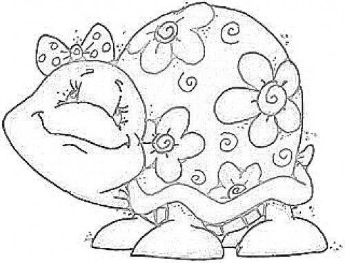 cute girly flowered turtle! Coloring Pages Pinterest
