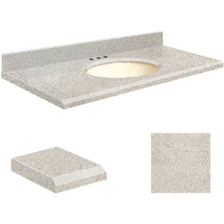 Transolid Quartz 37 inch x 19 inch Bathroom Vanity Top with Beveled Edge, 8 inch Centerset and Biscuit Bowl, Available in Various Colors, Beige