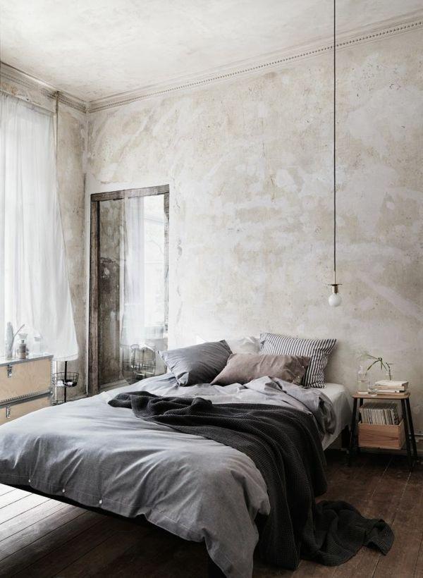 wandfarbe-hellgrau-interessantes-schlafzimmer Living Pinterest - schlafzimmer hellgrn