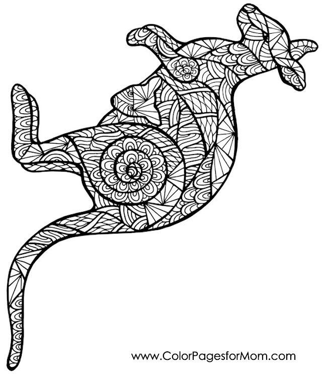 Coloring Pages Aboriginal Animals : Kangaroo coloring page adult colouring animals