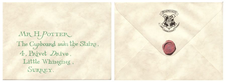 Hogwarts Letter Envelope. Movie Memorabilia Specialists The Monster Company Harry  Potter .