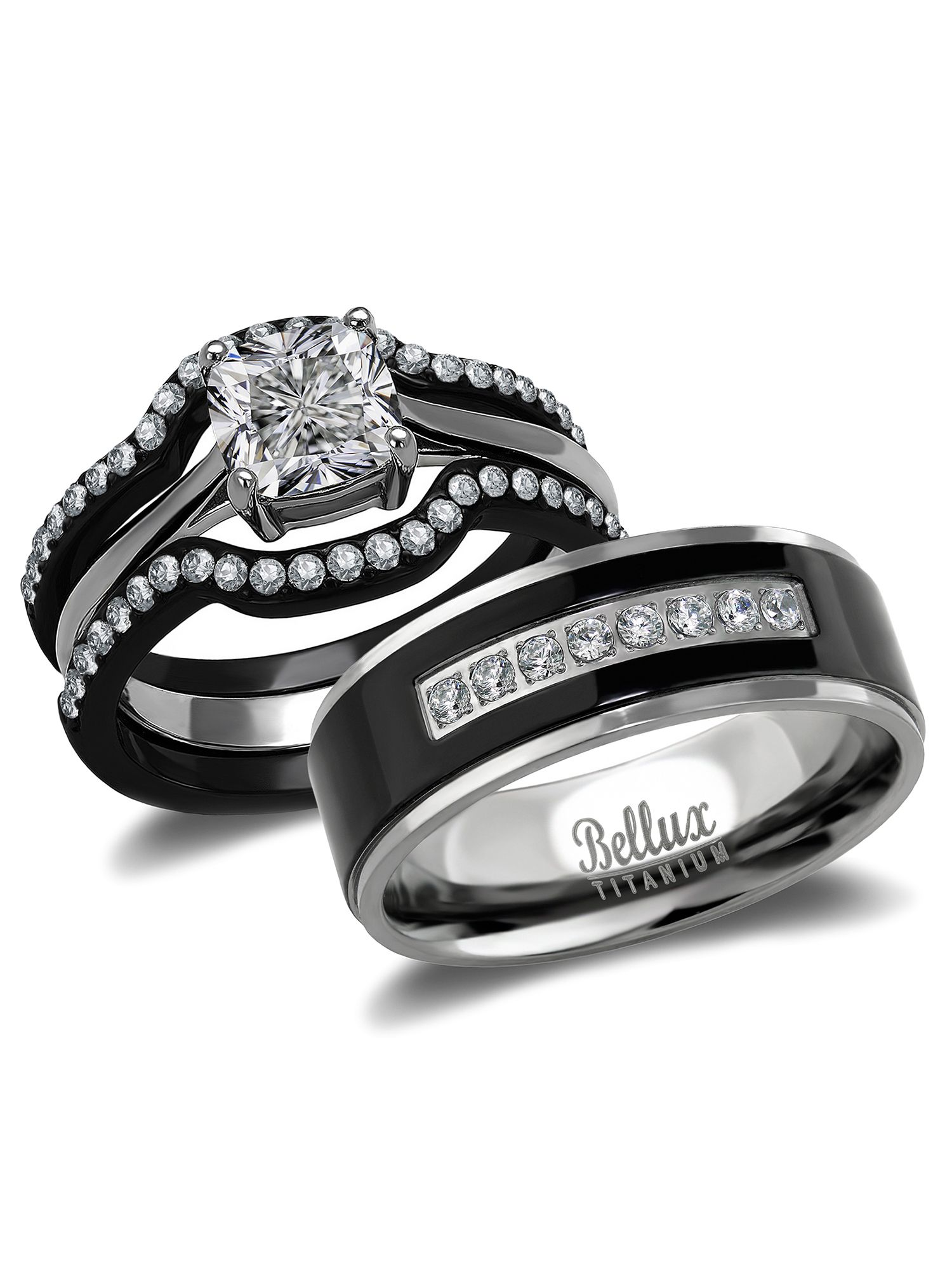Bellux Style His And Hers Wedding Ring Sets Black Stainless Steel And Titanium Bridal Set Walmart Com In 2021 Titanium Wedding Rings Steel Wedding Ring Wedding Ring Sets