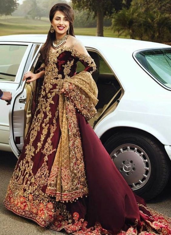 b23fd0f65222 Wine Color Bridal Lehenga