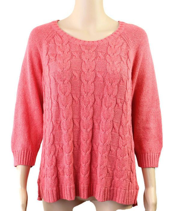 Talbots Womens Petite 3 4 Sleeve Cable Knit Pullover Sweater Large LP Pink  EUC  Talbots  PulloverSweater  Casual b323b17f6