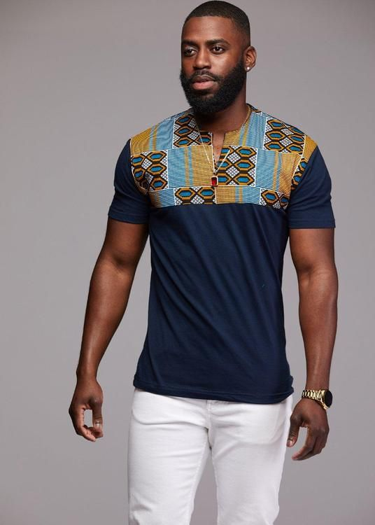 a49c7f72f Dayo Men's African Print T-Shirt (Blue/Tan/Navy) | Fashion Sense in ...