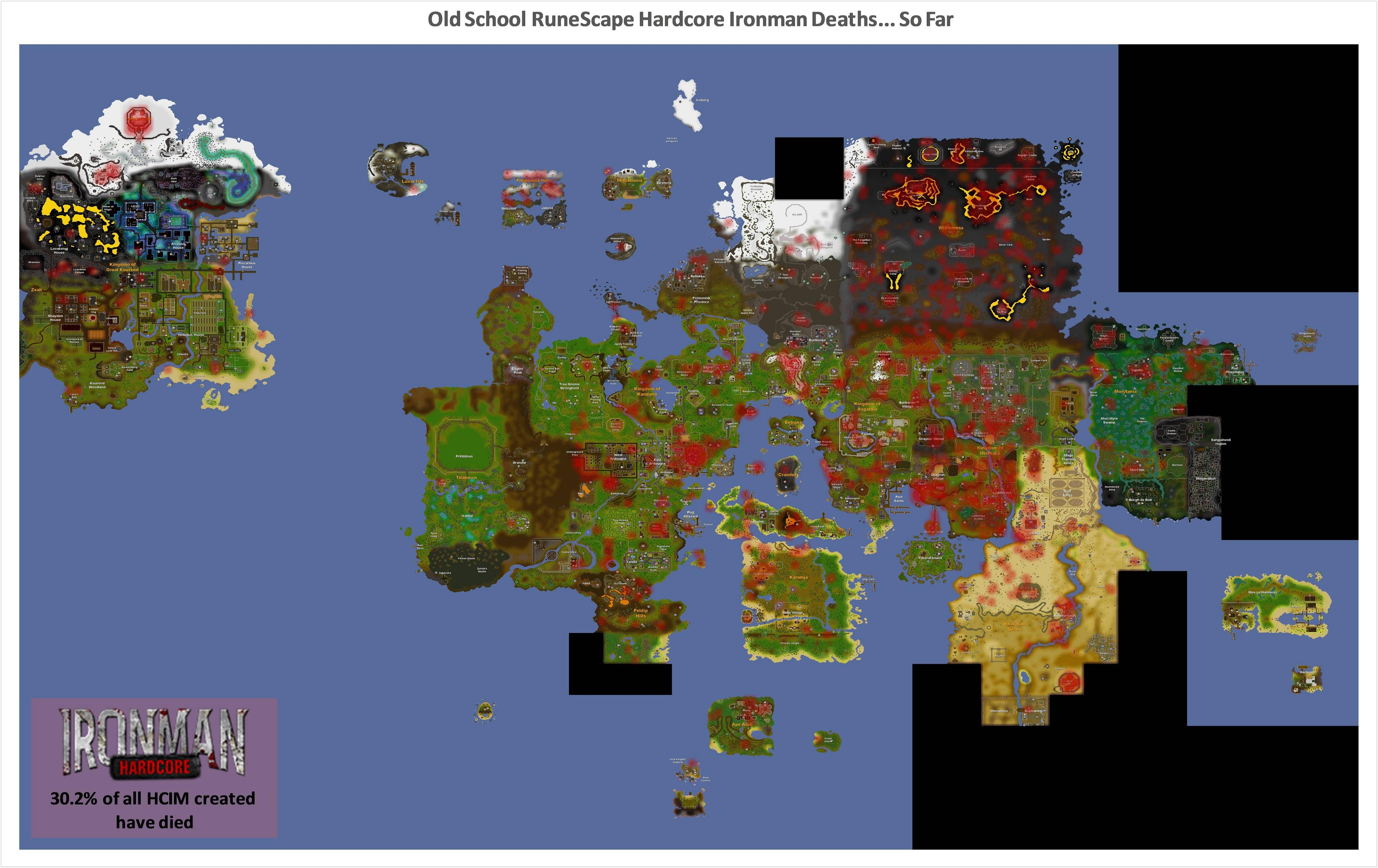 Really cool map of all the HCIM deaths in Old School