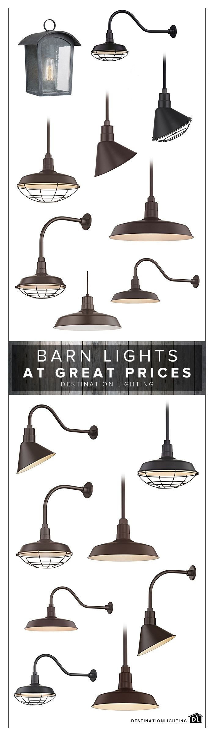 Barn Lighting includes vintage inspired pendants, wall lights, and outdoor fixtures. Check out our great selection at Destination Lighting.com!