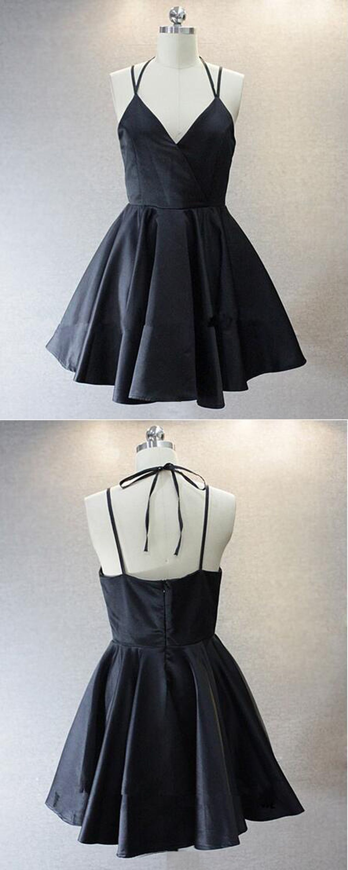 ALine VNeck Short Black Satin Homecoming Dress Fashion