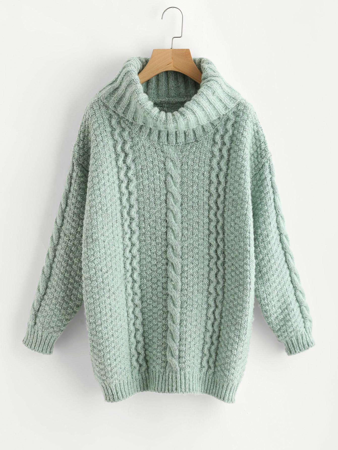 Jersey tejido mezclado on cuello enrollado -Spanish SheIn(Sheinside ... e900ecf44