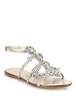 ff8ea0321 Miu Miu - Anchor Crystal Flat Sandals