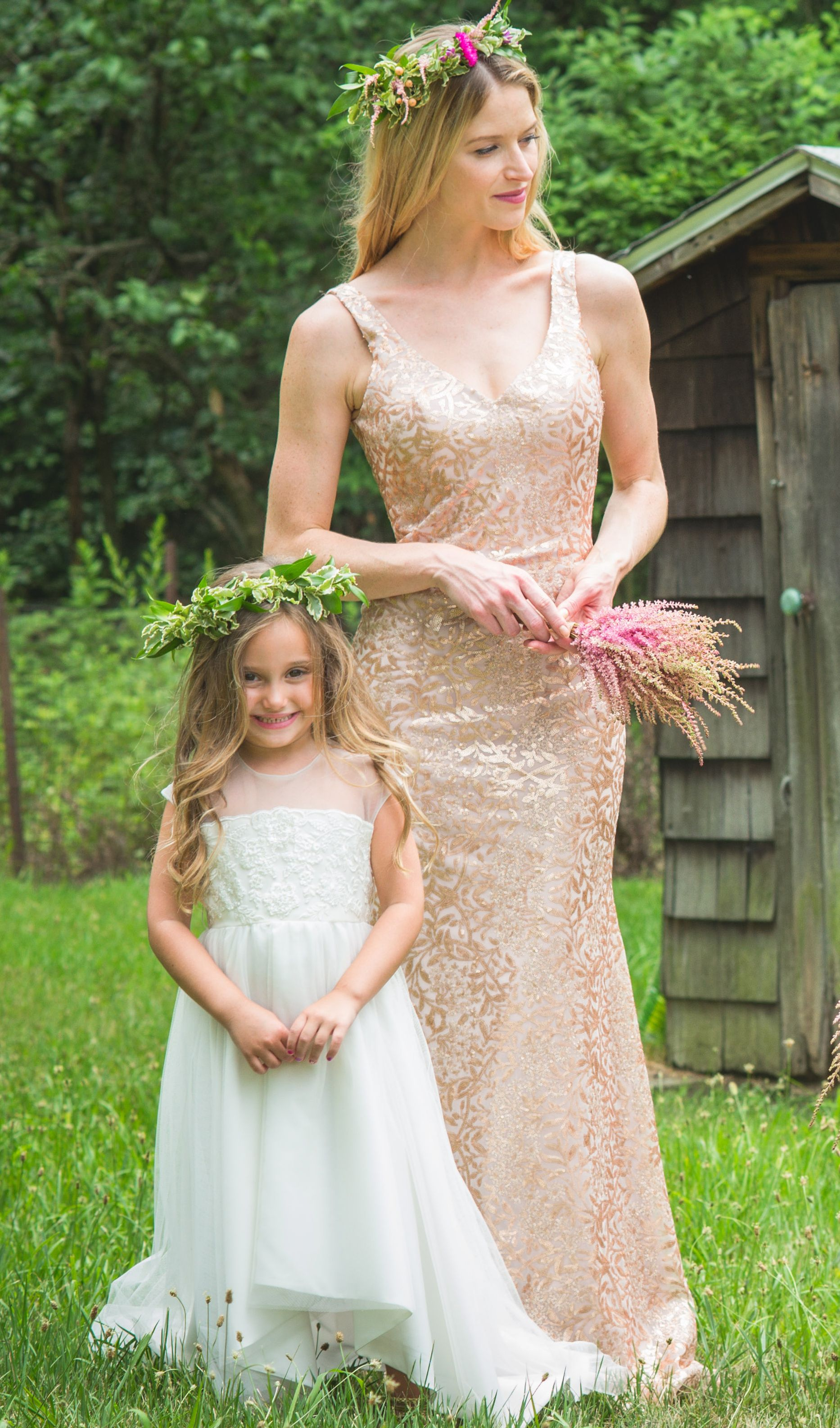 This Flower Girl Dress And Rose Gold Metallic Bridesmaids Gown Will
