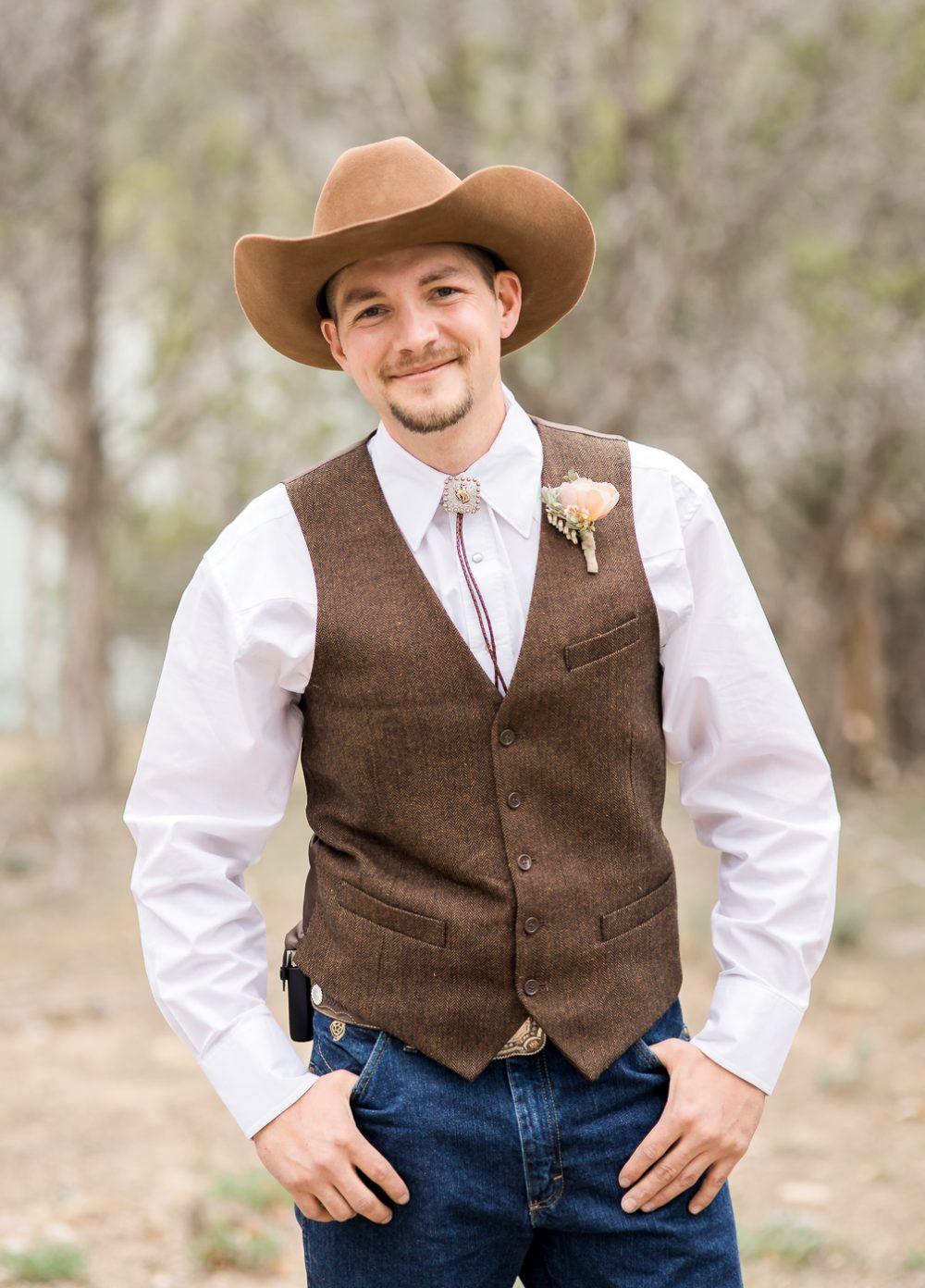 Rustic Grooms Wedding Attire Groom With Cowboy Hat Groom With Vest Groom With Bolo Tie Cowboy Wedding Attire Cowboy Groom Casual Groom Attire