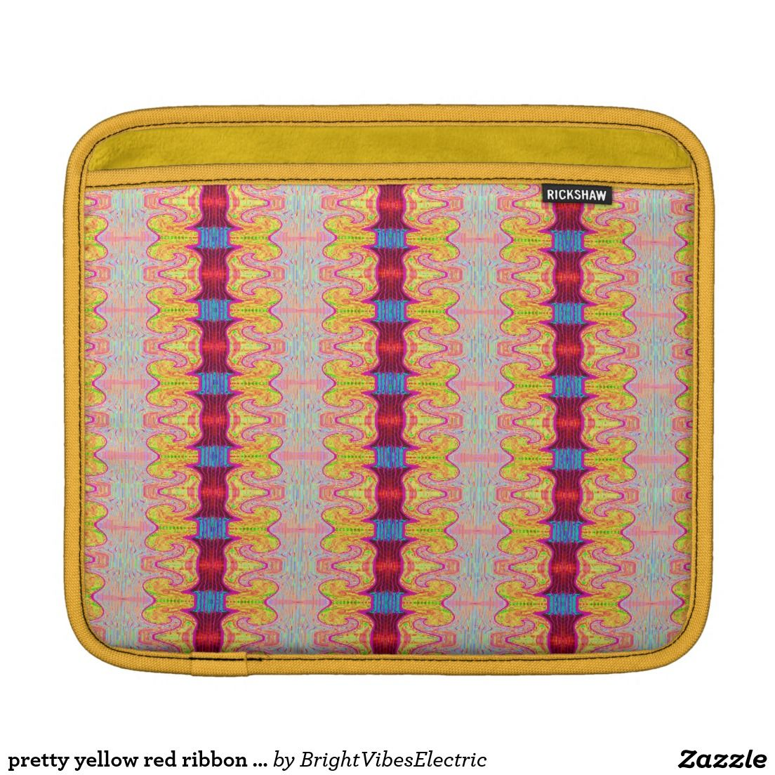 pretty yellow red ribbon pattern sleeves for iPads