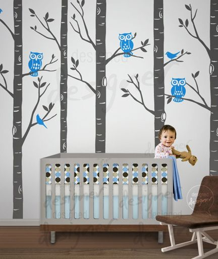 This Would Be A Cute Idea For Boy Twins Room You Could Alternate The Pink And Blue Owls Keep Their Linens Simple But Love