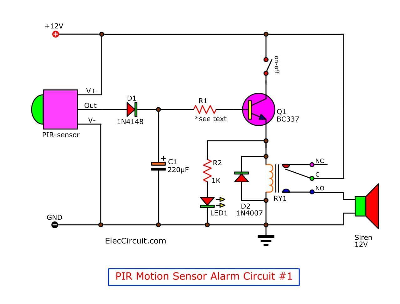 Bewegungsmelder Alarmschaltung Mit Pir Sensor Einfach Und Gunstig Elektroniken Bewegungsmelderala Motion Detector Electrical Circuit Diagram Circuit Projects
