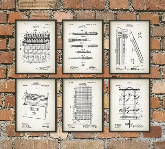 Accountant Patent Print Set Of 6 Accountancy Poster Office Wall Art Business Management General Ledger Profi Patent Art Prints Prints Office Wall Art