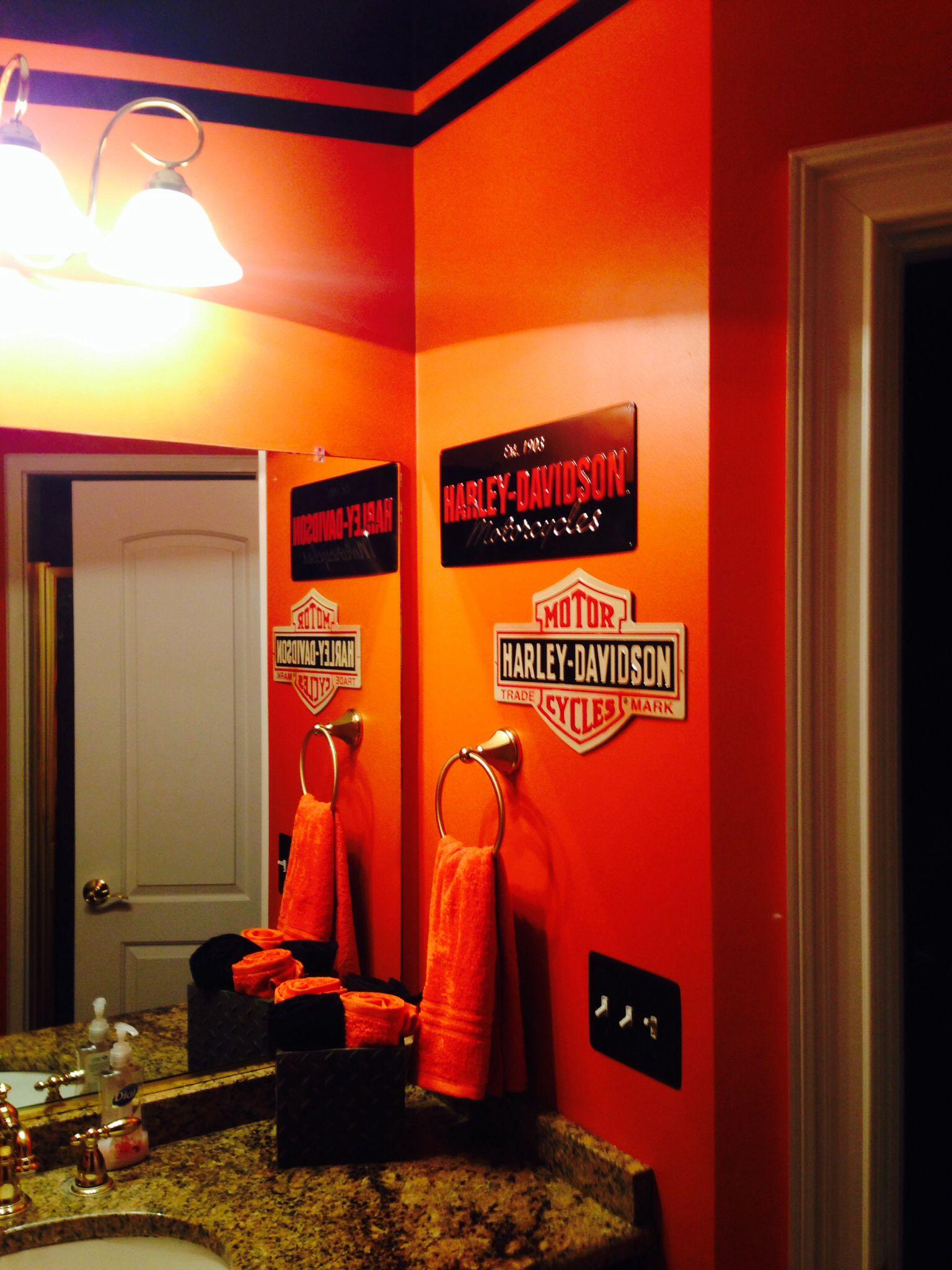 Husbands Man Bathroom I Did For Him Harley Davidson Decor Harley Harley Davidson