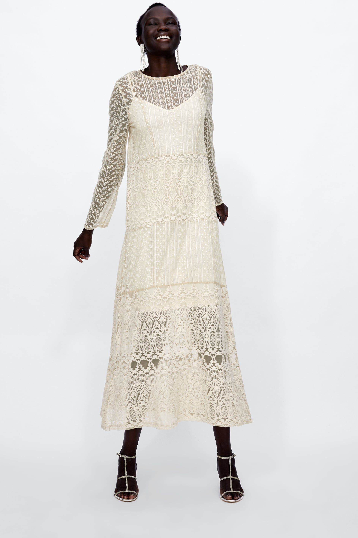 White lace dress zara  VESTIDO LARGO ENCAJE  Boho shoot  Pinterest  Lace dress Zara