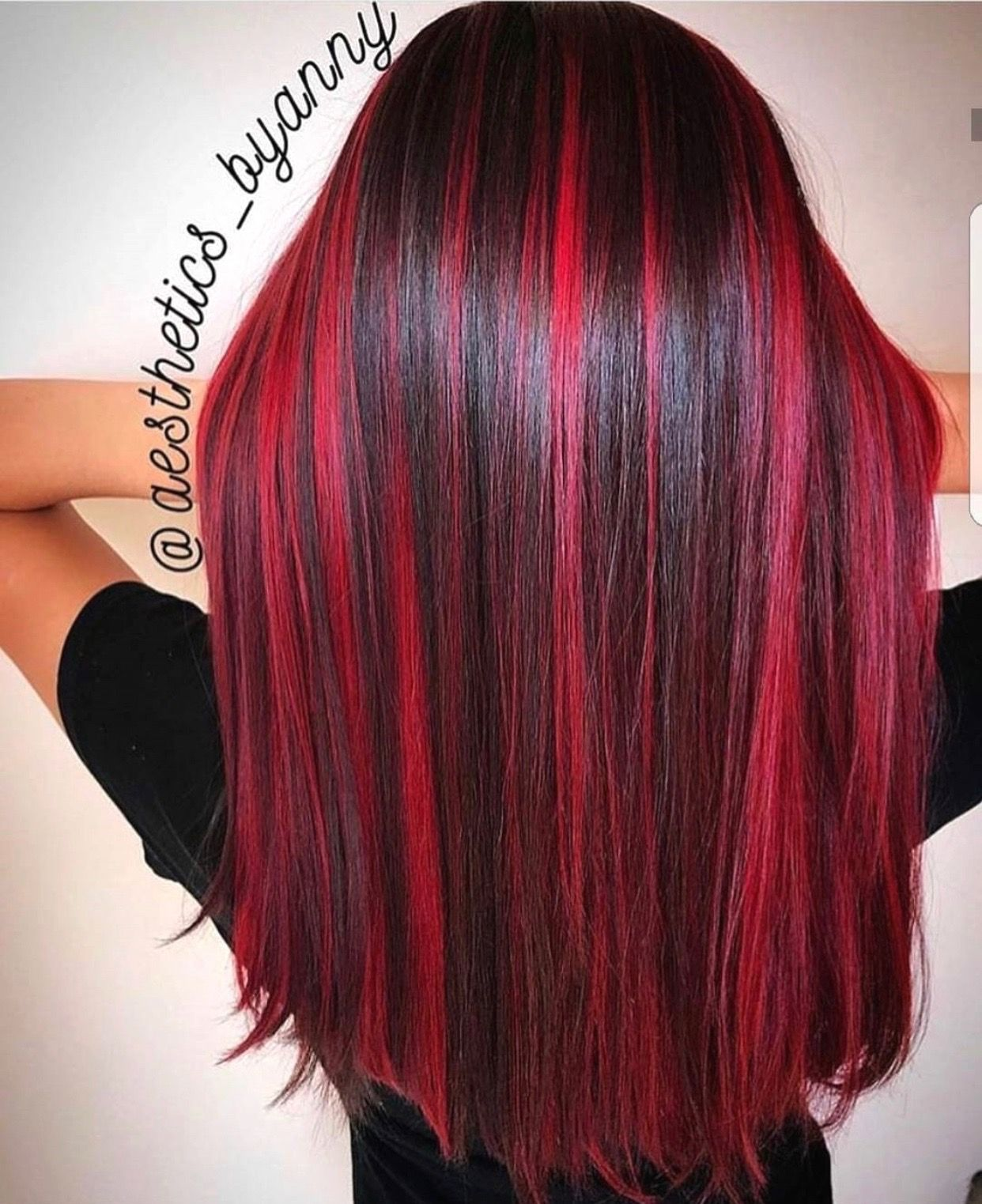 Black Long Hair With Lots Of Dark Pink Red Burgundy Highlights Color Added Red Hair With Highlights Hair Highlights Hair Color For Black Hair