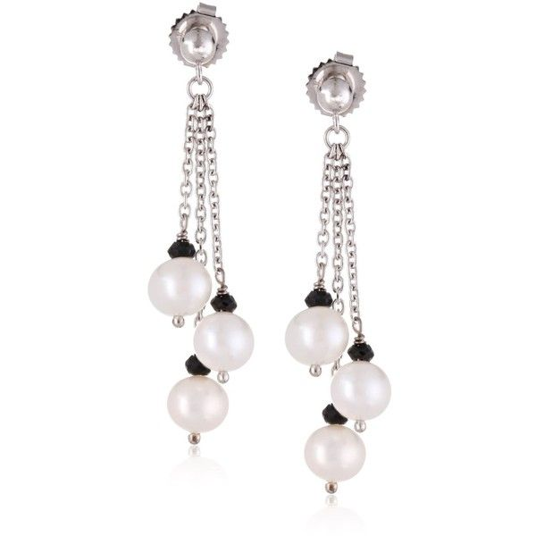 """Honora """"Black & White"""" White Freshwater Cultured Pearl and Onyx Triple... ($60) ❤ liked on Polyvore featuring jewelry, earrings, dangle earrings, black white earrings, white and black earrings, onyx dangle earrings and cultured pearl earrings"""