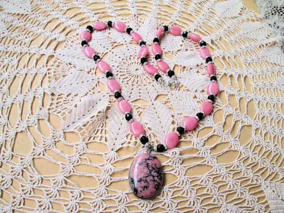 Morganite Beads and Pendant Necklace. SALE Now by KrafytKiwiKorner