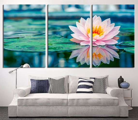Lotus Flower Wall Art oversize wall art - lotus flower in lake canvas print - lily