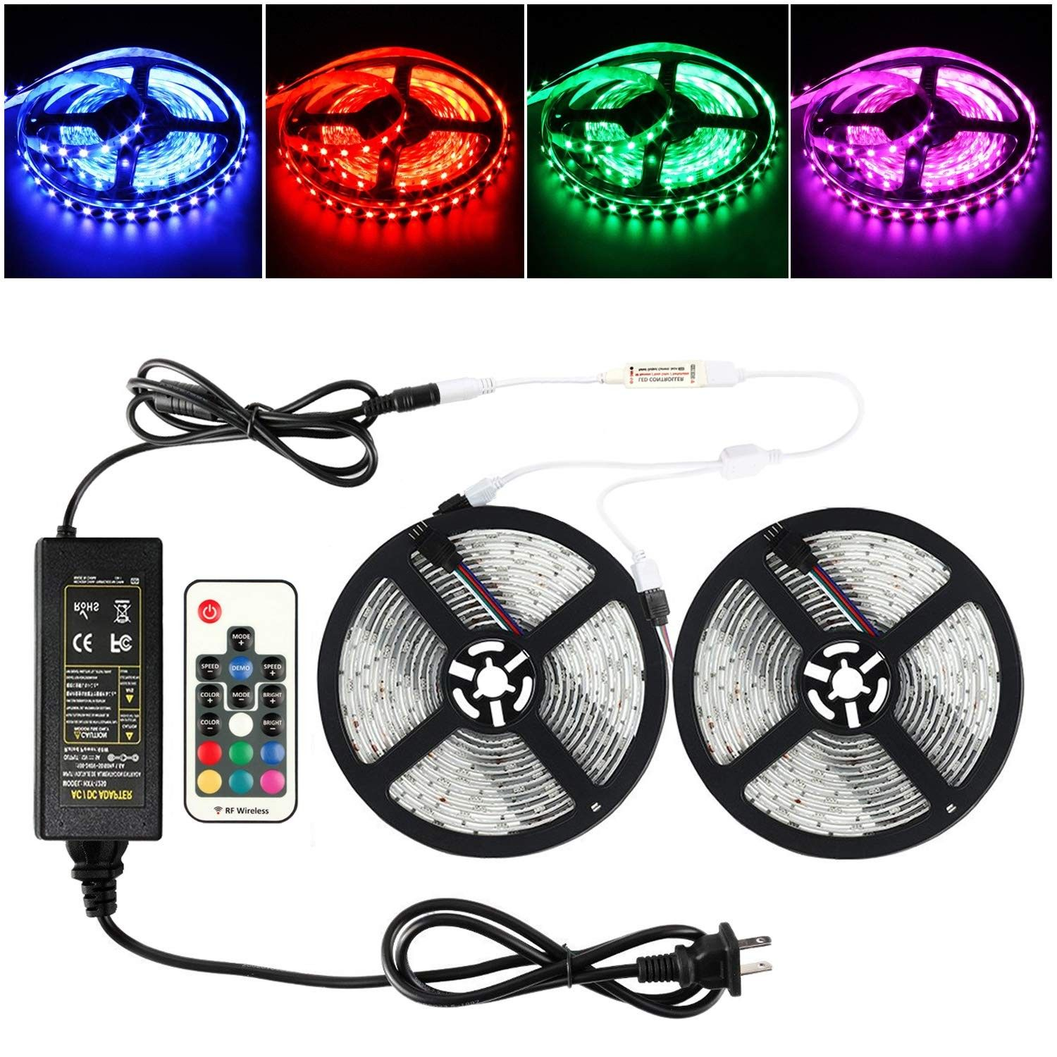 10m Led Light Strips Waterproof Flexible Rgb Smd5050 150 Led Strips Kit With Remote And 12v Power Supply Rgb Strip For Party Holiday Home And Outdoor Co18d6re Led Light Strips Strip