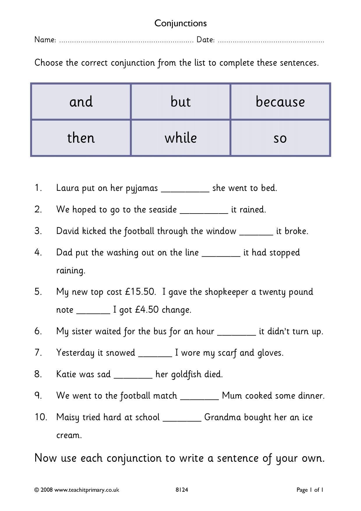 34 Simple Conjunctions Worksheets Design Ideas S