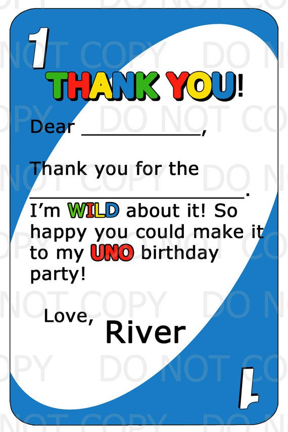 Printable Diy Uno Birthday Theme Thank You By Onelovedesignsllc