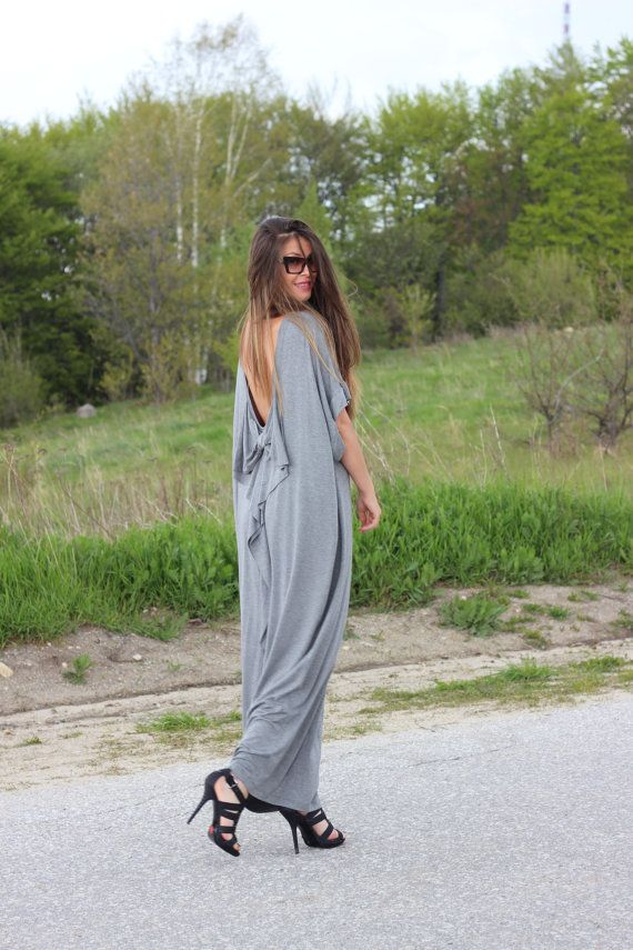 Hey, I found this really awesome Etsy listing at https://www.etsy.com/listing/189363759/grey-open-back-maxi-dress-backless-dress