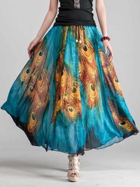 Fascinating  Chiffon Printed Maxi-skirt Maxi Skirts from fashionmia.com