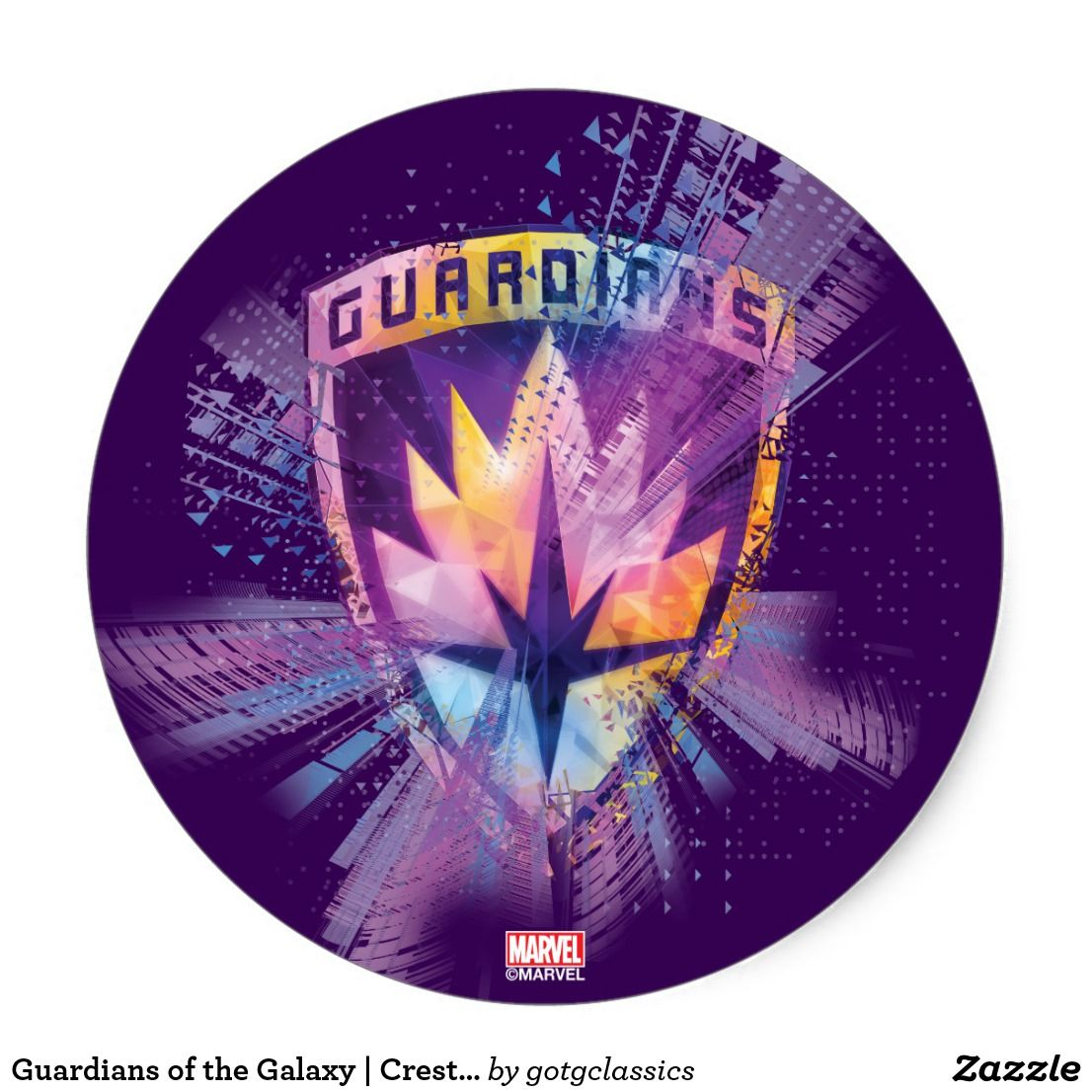 Guardians Of The Galaxy Crest Neon Burst Classic Round Sticker Zazzle Com Guardians Of The Galaxy Round Stickers Galaxy