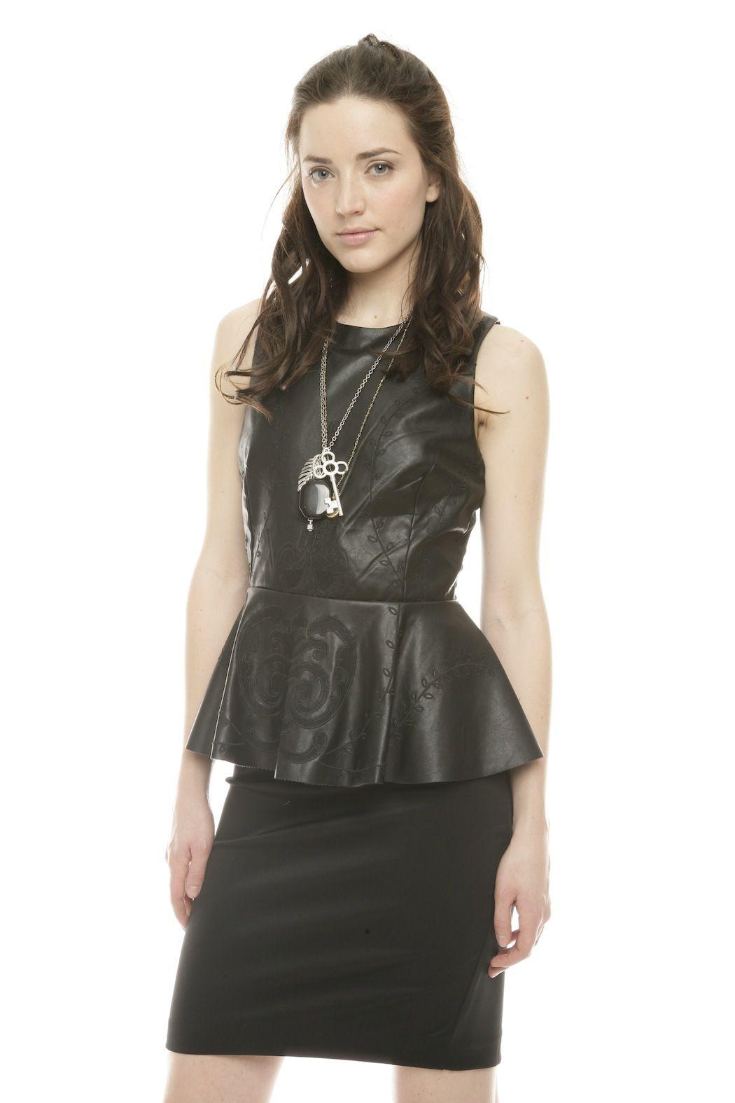 tov leather peplum dress