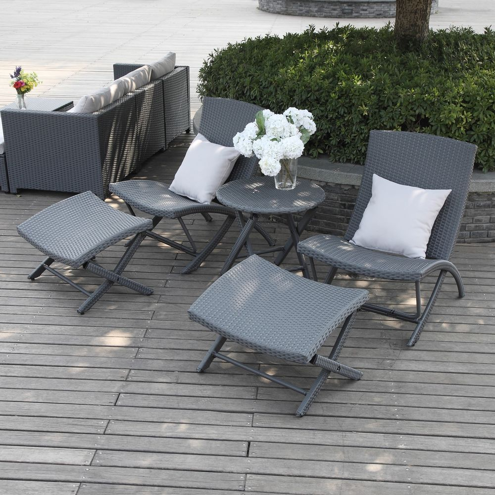 Patio Furniture Set 5 Piece Gray Wicker Chair Ottoman Table Outdoor ...