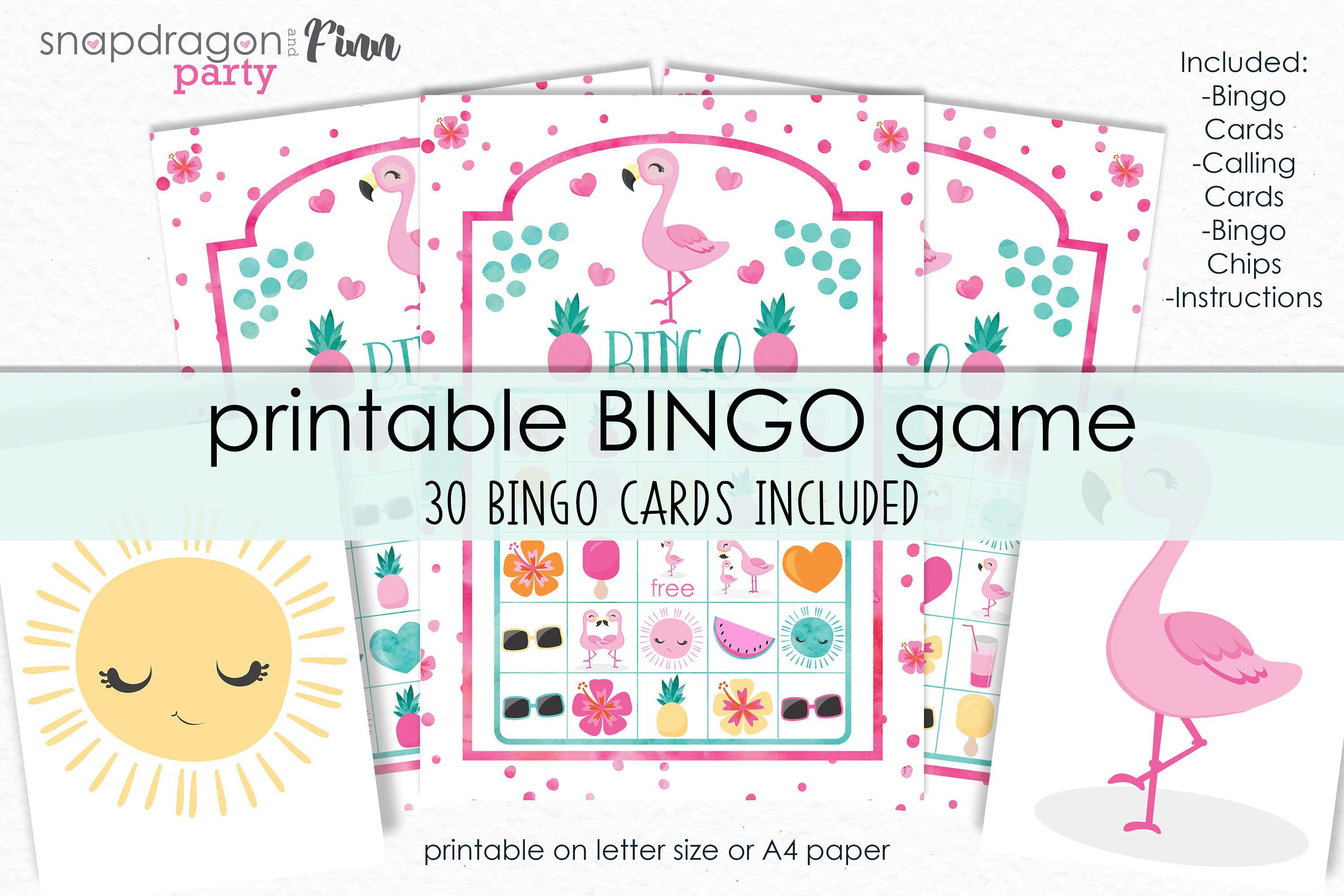 photo regarding Bingo Chips Printable titled Flamingo Bingo Printable Activity - Printable Flamingo Birthday