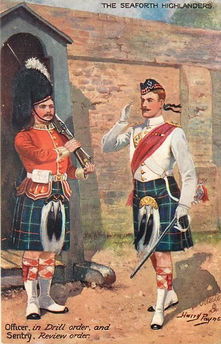 British; The Seaforth Highlanders, Sentry in Review Order & Officer in Drill Order, 1910 by H.Payne