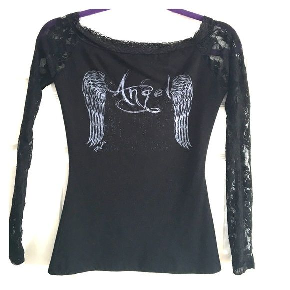"""Long sleeve lace """"Angel"""" shirt Good condition. The sleeves are lace, it says """"Angel"""" on the front and back. The back has some slits. Very sexy all black with gray writing. Been worn a few times but still in good condition! Tops Tees - Long Sleeve"""