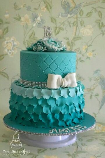 Turquoise 18th Birthday Cake Peony Ruffles With Bling