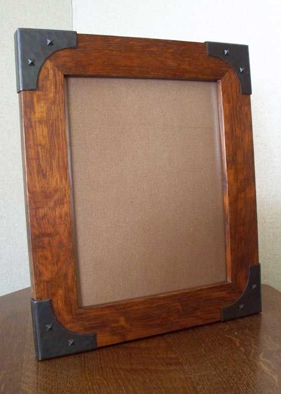 Arts Crafts Style Hand Crafted Photo Frame In Quarter Sawn White Oak With Copper Brackets Wood Picture Frames Picture Frame Crafts Rustic Picture Frames