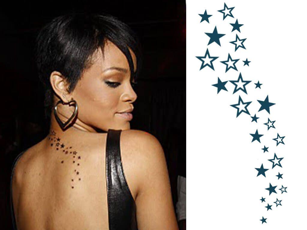 Cascading Stars Tattoo Rihanna Tatoo Tatuagem De Rihanna Rihanna Tatuagens