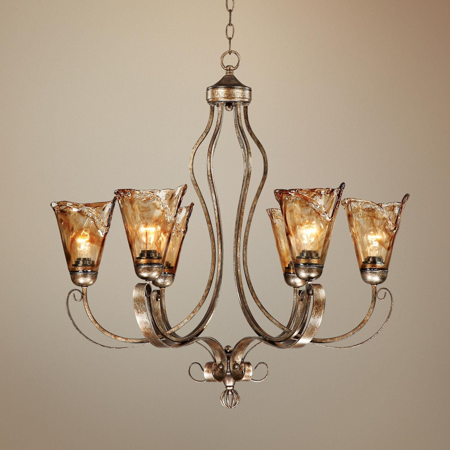 "Franklin Iron Works Amber Scroll 31 1 2"" Wide Chandelier Style"