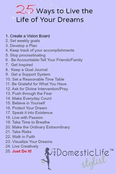 003 25 Ways to Live the Life of Your Dreams Life goals list