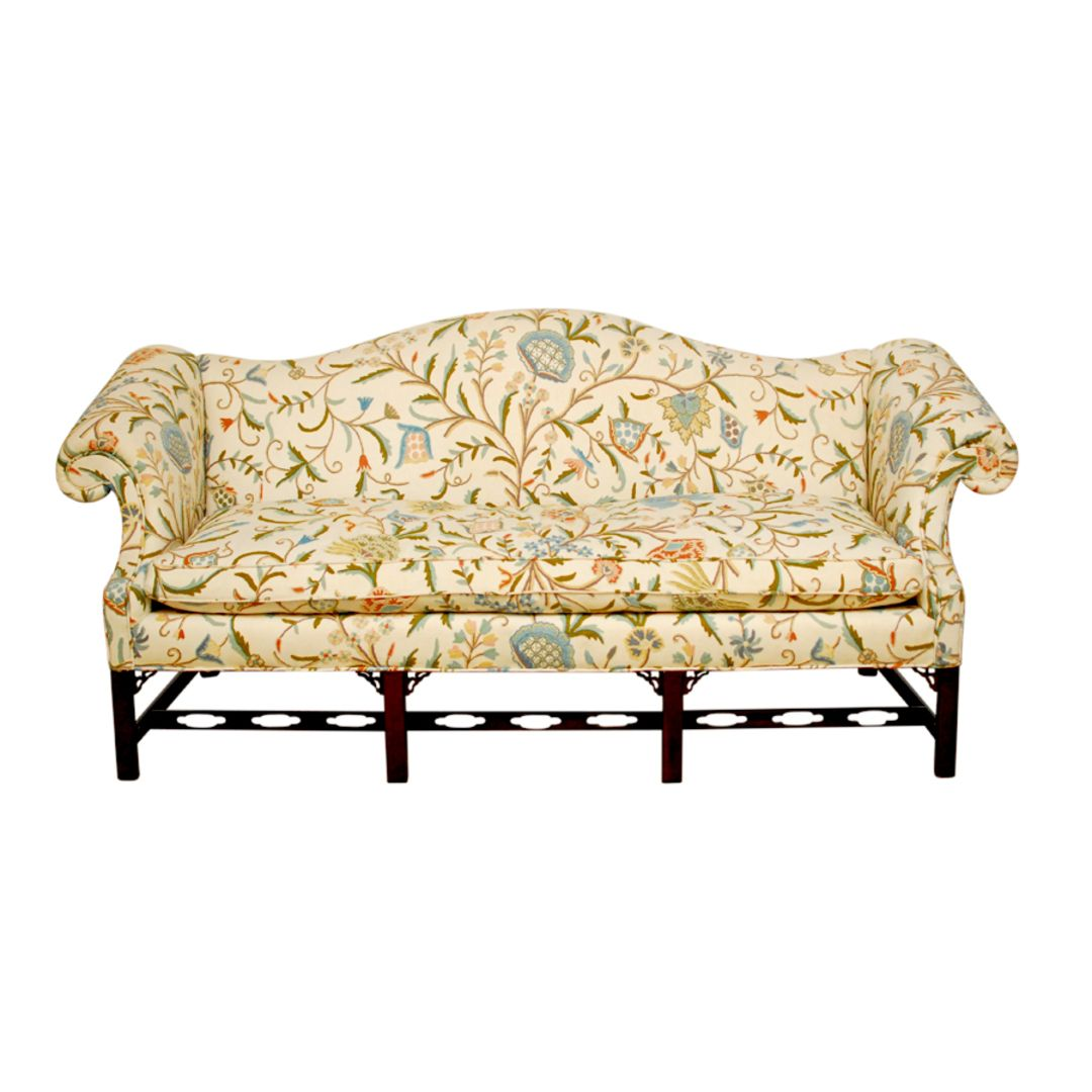 Chinese Chippendale Camelback Sofa
