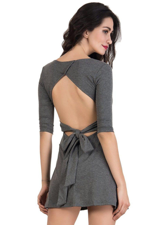 Choies Women's Casual Plain Tied Backless ScoopNeck 3/4 Sleeve Skater Mini Dress: Amazon Fashion